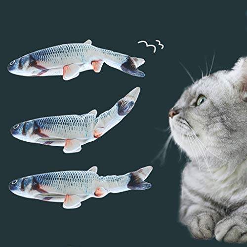 Realistic Plush Simulation Electric Doll Fish, Funny Interactive Pets Chew Bite Supplies for Cat/Kitty/Kitten Fish Flop Cat Toy Catnip Toys - Perfect for Biting, Chewing and Kicking (B) 7