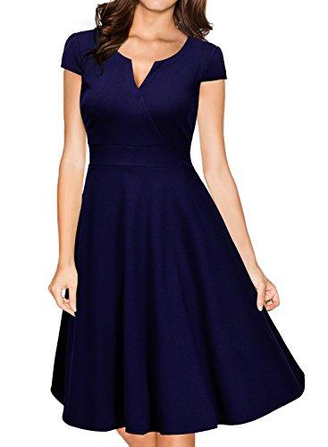 MIUSOL Casual A-line Lavoro Cocktail Vestito Donna Corta Blu