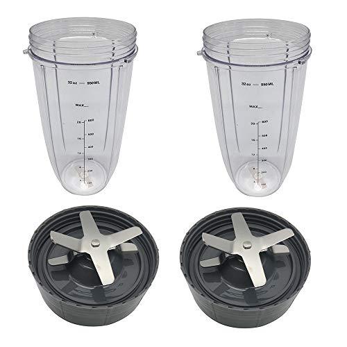 JJDD Replacement Parts 2 PCS Cross Blade+2 PCS 32OZ Blender Cup Compatible with Nutribullet Blender Juicer Mixer Part Accessories (Best Price Nutribullet 600)