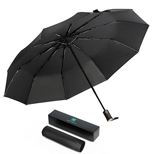 Zhicity UV Protection Umbrella, Compact Travel Umbrella, Auto Open Close, Reinforced 10 Ribs, Windproof, Rainproof, Waterproof Portable Folding Umbrella for Men Women by Zhicity