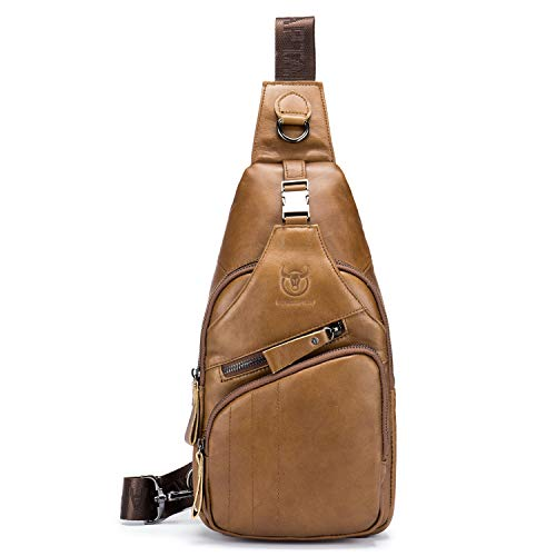 Price comparison product image BULL CAPTAIN Shoulder Backpack Casual Cross Body Bag Genuine Leather Ipad Mini Pack Travel Sling Bag XB-105 (Brown,  Small)