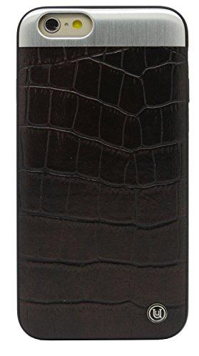 Uunique Croc avec plaque en métal brossé pour iPhone 6 Noir