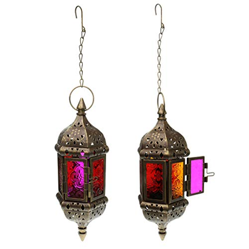 MagiDeal 2X Moroccan Style Metal & Glass Teal Light Candle Holder Hanging Lantern Candleholder for Wedding Home Coffee Shop Decor - Brown
