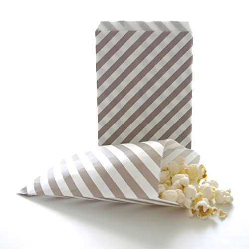 Wedding Candy Bag, Guest Giveaway Ideas At Receptions, Showers & Rehearsals, Silver Stripe Bags (25 Pack)