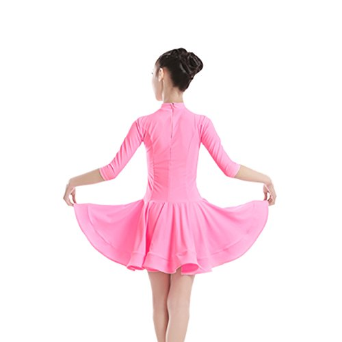 Embiofuels(TM) New Girls Candy Color Ballroom Tango Dance Costumes 3/4 Long Sleeve Dance Practice Clothing Turtleneck Toddler's Party Dress by Embiofuels (Image #1)