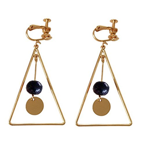 Glass Bead Clip Earrings - Screw Back Clip on Earring Clip for non Pierced Drop Dangle Triangle Gold Plated for Women Back Beads