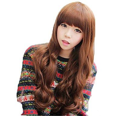 (Xiong Pear Roll Full Bang Synthetic Long Wavy Wigs 3 Colors Available)
