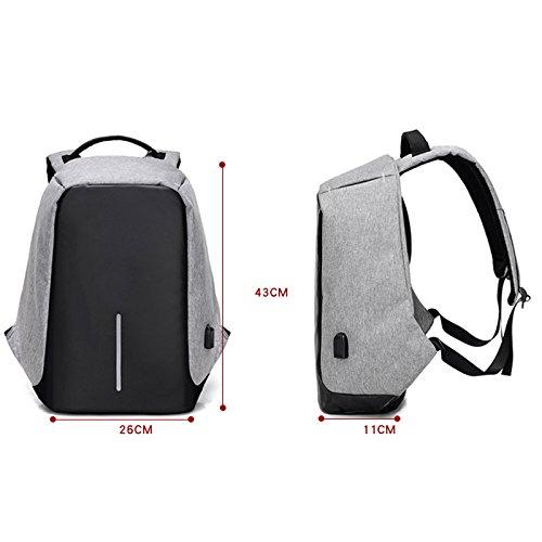 Espeedy Multi-función hombres mochila de fibra de poliéster estudiante bolsa de hombro paquete de computadora para viajes de negocios escalada camping negro