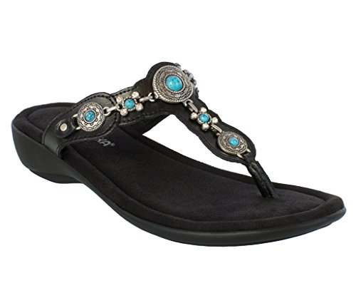 Minnetonka Women's Boca Thong III Black Leather 8 M ()