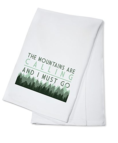 The Mountains are calling and I Must Go - Pine Trees (100% Cotton Kitchen Towel)