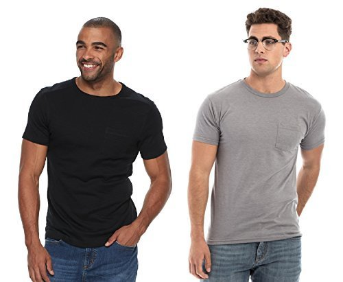 Hanes Men's 2 Pack Short-Sleeve Pocket Beefy-T (Black & Grey, Medium) by Hanes