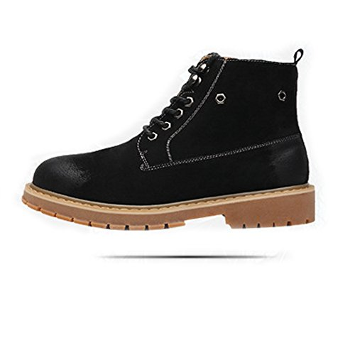 Sunny&Baby Men's Shoes Side Zipper Genuine Leather High Top Big Soles Martin Ankle Boots For Gentlemen Abrasion Resistant (Color : Warm Black, Size : 9MUS)