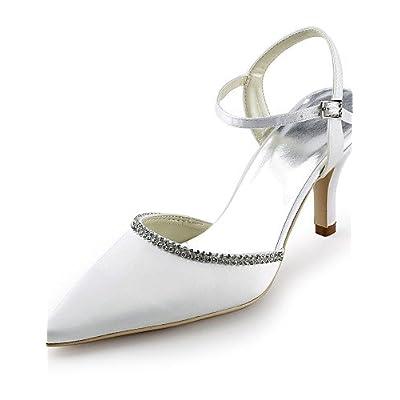 Ggx/femme Chaussures Soie Stiletto Talon talons/Bout Pointu talons Mariage/fête & Soir/robe Blanc