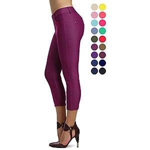 Prolific Health Capri Women's Jean Look Jeggings Tights Slimming Many Colors Spandex Leggings Pants (Medium, Plum)