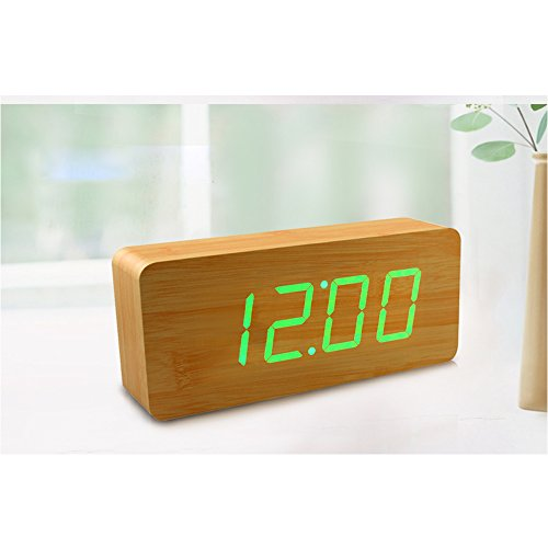 Smart Wooden Digital Alarm Clock, SHOULDBUY 8-Inches Sound Control With Time Temperature (Bamboo-Green LED) by shouldbuy (Image #4)