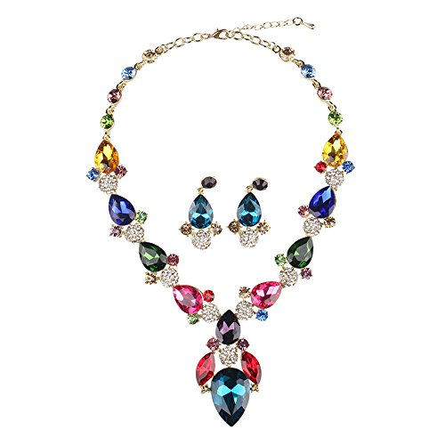 "Price comparison product image ""Gems Love"" Austrian Crystal Fashion Jewelry Sets Necklace Earrings Wedding Prom Accessories, b"