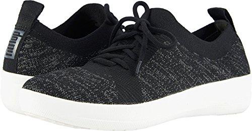 FitFlop Womens F-Sporty Uberknit Black Sneaker – 6