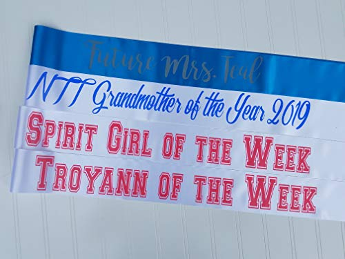 Personalized Satin Sash for Baby Shower, Birthday, Wedding, Bridal Shower Sash, Bachelorette Party, Hen Party, Celebrations, Anniversary, Retiree, Halloween - Custom Color & Text