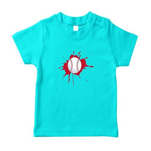 Baseball Splash Baseball Toddler/Baby 100% Cotton T-Shirt Tee - Aqua Blue, - Aqua Splash Baby