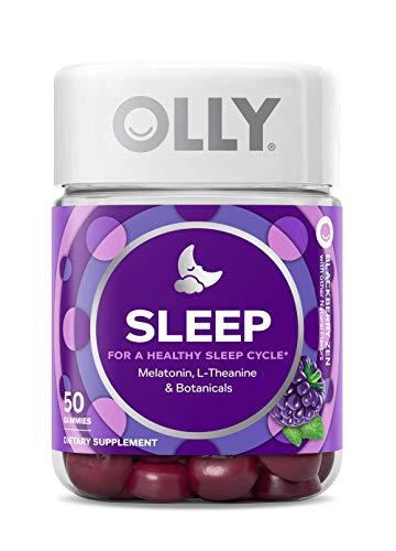 OLLY Sleep Melatonin Gummy, 25 Day Supply (50 Gummies), Blackberry Zen, L Theanine, Chamomile, Lemon Balm, Chewable Supplement