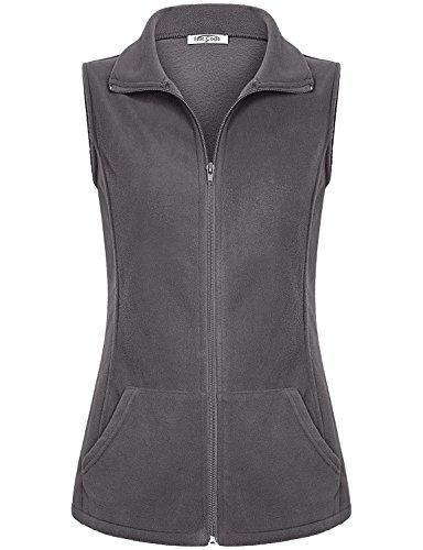 SeSe Code Lady Vest, Women 2XL Clothing Sleeveless Outerwear Slant Pockets Dressy Contemporary Zipped Soft Surroundings Fall Polar Fleece Jacket Grey XX Large
