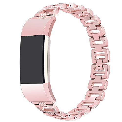 Cywulin Compatible for Fitbit Charge 2 Replacement Bands, Fashion Bling Luxury Stainless Steel Smart Watch Wristband Strap Fitness Bracelet Crystal Rhinestone Metal Accessories Women Men (Pink) ()