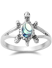 Sterling Silver Simulated Abalone Turtle Ring sizes 5-10