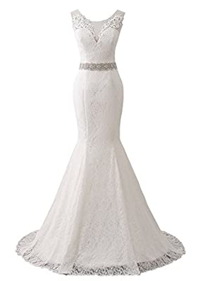 Changuan Women's Lace Wedding Dress Mermaid Bridal Gown with Train