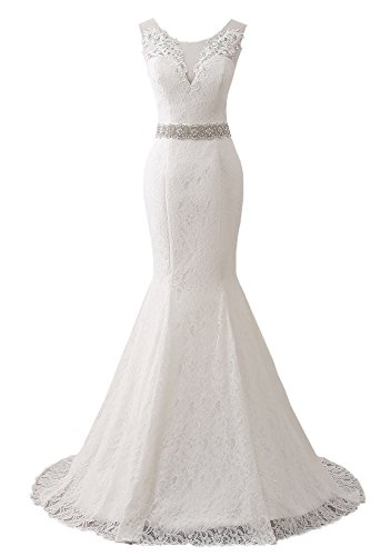 Changuan Women's Lace Wedding Dress Mermaid Bridal Gown With Train White-20