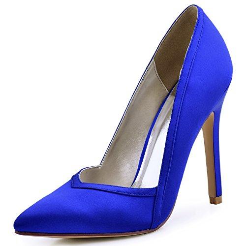 (ElegantPark HC1603 Women's Pointed Toe High Heel V Cut Slip on Satin Dress Pumps Royal Blue US)