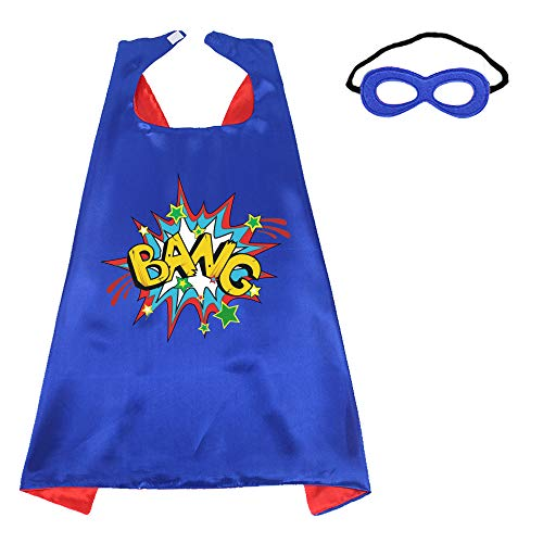 Superhero-Capes-Masks Kids Dress-up Birthday Party (Bang) Red Blue ()