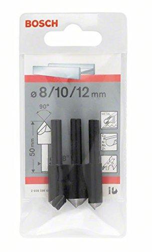 Bosch 2 608 596 667 - Set de 3 avellanadores cónicos - 50 mm / 6-8 mm / 8; 10; 12 mm (pack de 3) 2608596667