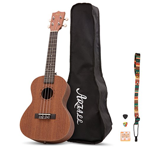 Artall 23 Inch Handcrafted Solid Wood Concert Ukulele, Small Sapele Guitar Beginner Pack with Carrying Bag & Accessories, Natural