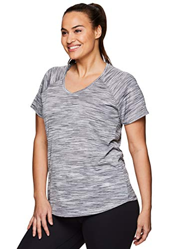 Double Layer Stripe T-shirt - RBX Active Women's Plus Size Striated V-Neck Short Sleeve Top S.19 Grey 2X
