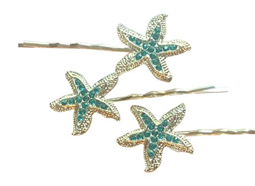 Starfish Rhinestone Hair Pins for Mermaid Costume/ Bridal Party (set of 3) (aqua)