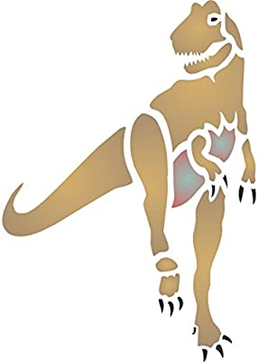 Reusable Dinosaur Fossil Tyrannosaurus Rex Bones Wall Stencil Template 16.5 x 24cm T-Rex Stencil Use On Paper Projects Scrapbook Journal Walls Floors Fabric Furniture Glass Wood Etc.