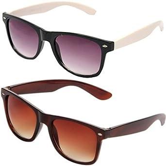 5addba20d2 Sheomy Mirrored Unisex Sunglasses Combo Pack of White Side Wayfarer Sun  glasses and Brown Wayfarer Mirrored
