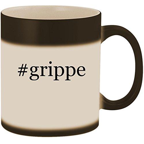 #grippe - 11oz Ceramic Color Changing Heat Sensitive Coffee Mug Cup, Matte Black