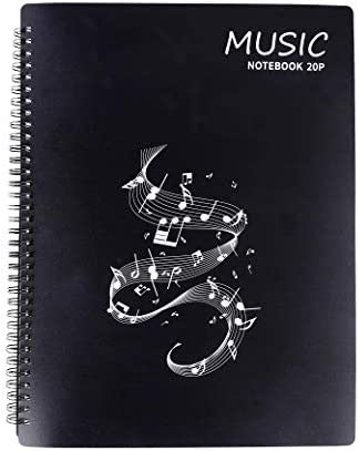 Music Sheet Folder Song File Clef Paper Storage Documents Holder Bag, Blank Plastic Concert Choral Folder A4 40 Pockets for Musicians and Band, Writable and 180-degree Spiral-Bound