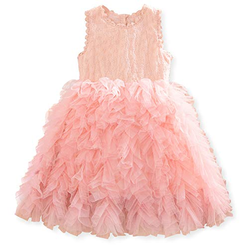 (NNJXD Little Girl Tutu Dress Tulle Ruffles Flower Girls Wedding Party Dresses 5-6 Years Button-Light)