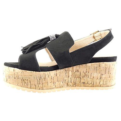 Angkorly - damen Schuhe Sandalen Mule - Plateauschuhe - Franse - Bommel - Strass Keilabsatz high heel 6.5 CM - Schwarz