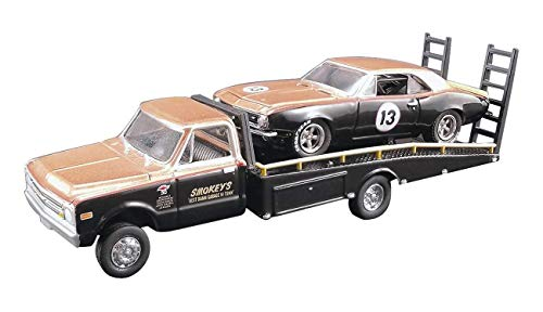 Greenlight 1967 Chevrolet C30 Ramp Truck with 1967 Chevrolet Camaro Trans Am #13 Gold and Black (Smokey Yunick) Acme Exclusive 1/64 Diecast Model Cars for Acme (Danbury Mint Diecast Cars)