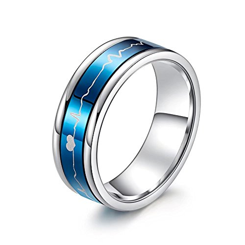93cf02fc01 Romantic Matching Couple Rings Titanium Steel Wedding Bands Comfort Fit ECG  HeartBeat Rotating Style His and