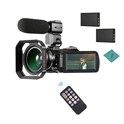 ORDRO AC3 4K WiFi Digital Video Camera Camcorder with 2pcs Rechargeable Batteries + Extra 0.39X Wide Angle Lens + External Microphone + Lens Hood with Andoer Cleaning Cloth