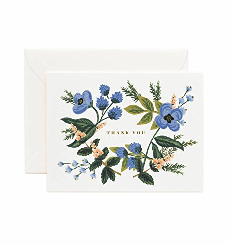 Thank You Blue Bouquet Note Cards by Rifle Paper Co. -- Set of 8 Cards and Envelopes