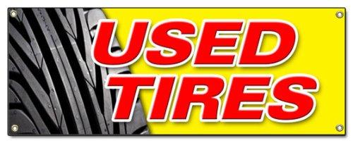 Used Tires Banner Sign Tires Sale Sell Wheels Wheel Rim Rims Rubber Tread rain Slick wear Signs