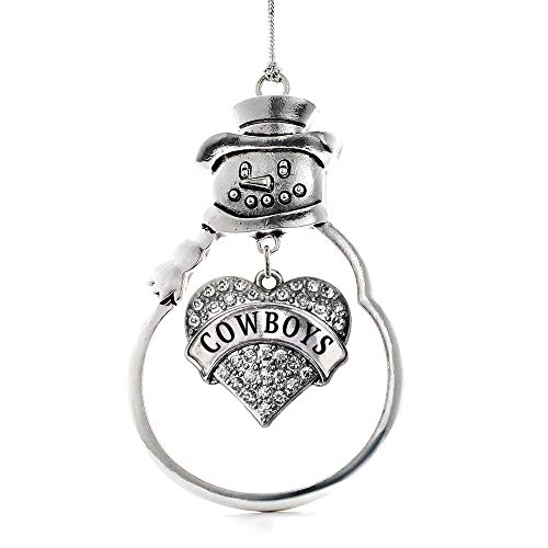 Inspired Silver - Cowboys Charm Ornament - Silver Pave Heart Charm Snowman Ornament with Cubic Zirconia Jewelry