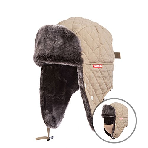 Aviator Khaki (TRIWONDER Winter Trooper Trapper Hat Ushanka Russian Ear Flap Aviator Hat With Mask (Khaki))