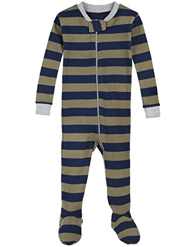 Petit Lem Boys' Forest Stripe 1 Piece Footie Pajama, Green/Navy, 18M ()