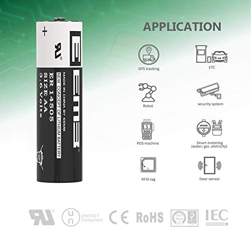 10Packs EEMB AA 3.6V Lithium Battery ER14505 LS14500 Li-SOCl2 2400 mAh XL-060F LR6/AM3 (Non Rechargeable) UL Certified Compatible for Dog Watch Fence Collars Baby Movement Monitor, Alarm Systems by EEMB (Image #2)